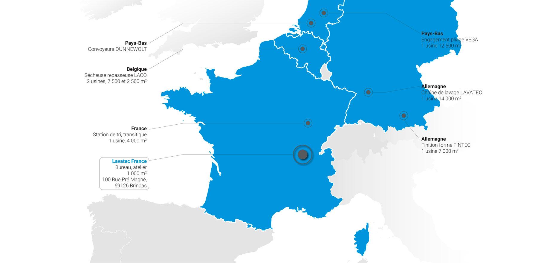 Usines Lavatec en Europe